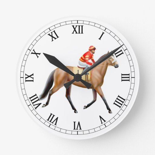 Racehorse Trotting to the Post Wall Clock