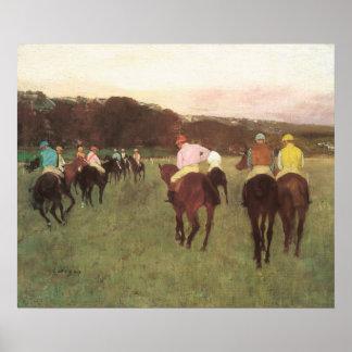 Racehorses at Longchamp by Edgar Degas Poster
