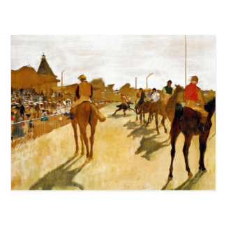 Racehorses before the Stands by Degas Postcards