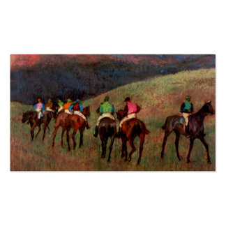 Racehorses in a Landscape jockeys horse art Degas Business Card