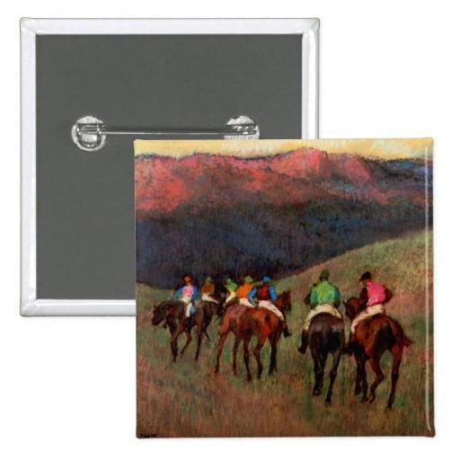 Racehorses in a Landscape jockeys horse art Degas Button