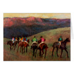 Racehorses in a Landscape jockeys horse art Degas Card