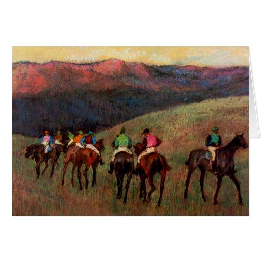 Racehorses in a Landscape jockeys horse art Degas Card