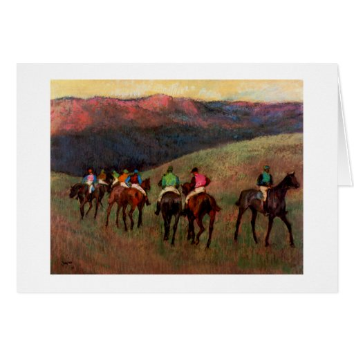 Racehorses in a Landscape jockeys horse art Degas Greeting Card