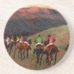 Racehorses in a Landscape jockeys horse art Degas Coaster
