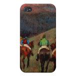 Racehorses in a Landscape jockeys horse art Degas Case For iPhone 4