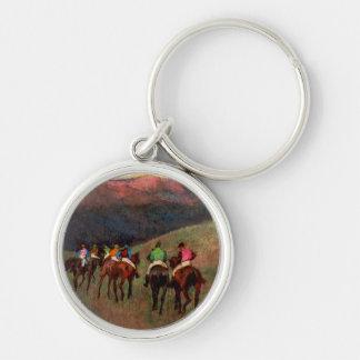 Racehorses in a Landscape jockeys horse art Degas Keychain