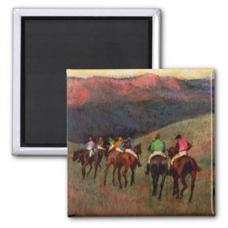 Racehorses in a Landscape jockeys horse art Degas Magnet