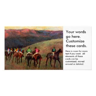 Racehorses in a Landscape jockeys horse art Degas Photo Greeting Card