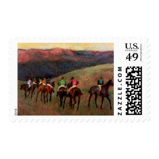 Racehorses in a Landscape jockeys horse art Degas Postage