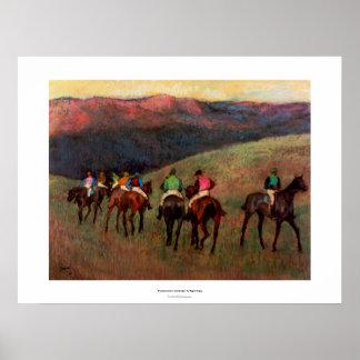 Racehorses in a landscape jockeys horse art Degas Poster