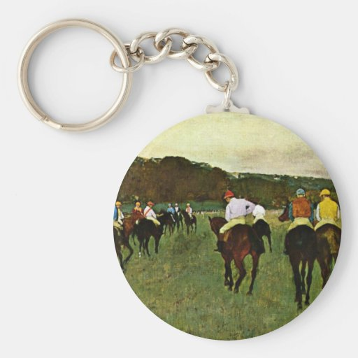 Racehorses In Longchamp By Edgar Degas Basic Round Button Keychain
