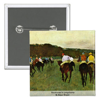 Racehorses In Longchamp By Edgar Degas Button