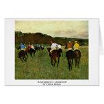 Racehorses In Longchamp By Edgar Degas Greeting Card