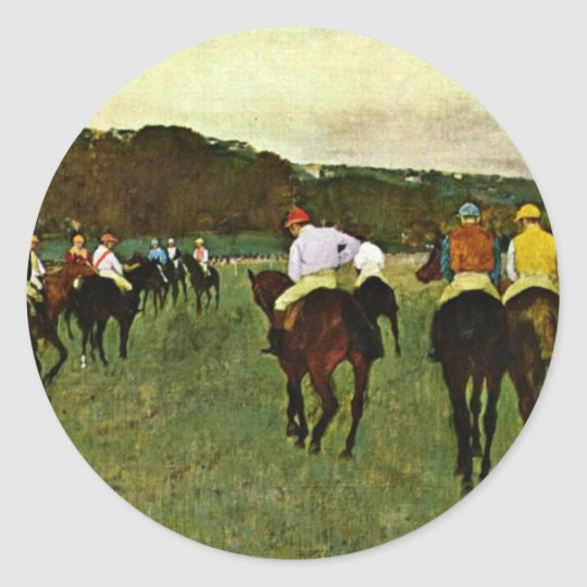Racehorses In Longchamp By Edgar Degas Classic Round Sticker