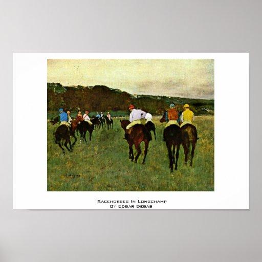 Racehorses In Longchamp By Edgar Degas Poster