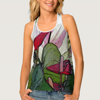 RACERBACK TANK TOP ANTHURIUM PLANT/RED,PINK & GREE