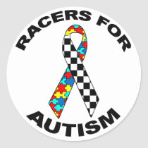Racers For Autism Classic Round Sticker
