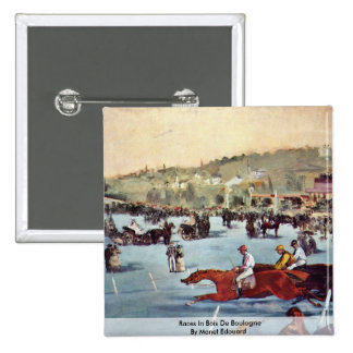 Races In Bois De Boulogne By Manet Edouard Pinback Button