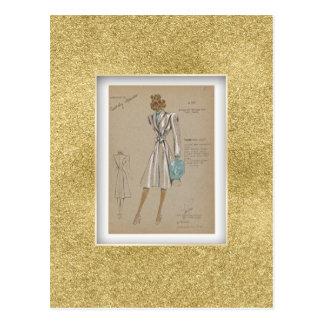 Racetrack coat buttonless wraparound 1930s Fashion Postcard