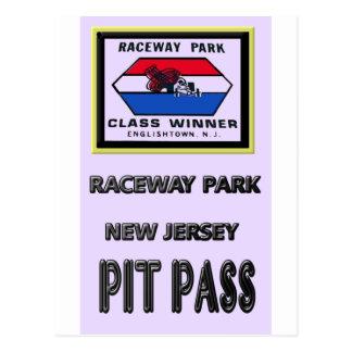Raceway park Pit Pass Postcard