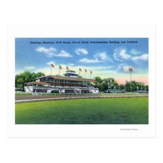 Raceway View of Grand Stand, Club House, Postcard