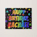 "[ Thumbnail: ""Rachael"" First Name, Fun ""Happy Birthday"" Jigsaw Puzzle ]"