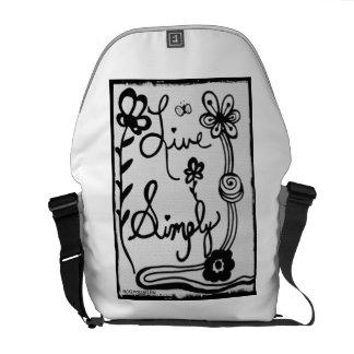 Rachel Doodle Art- Live Simply Messenger Bag