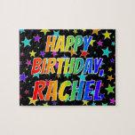 "[ Thumbnail: ""Rachel"" First Name, Fun ""Happy Birthday"" Jigsaw Puzzle ]"