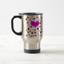 Rachel, Name, With Bunnies, Parrots Pattern, Travel Mug