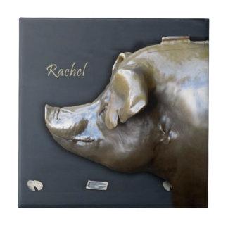 RACHEL THE PIGGY BANK Ceramic Tile