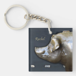 RACHEL THE PIGGY BANK Double-Sided SQUARE ACRYLIC KEYCHAIN