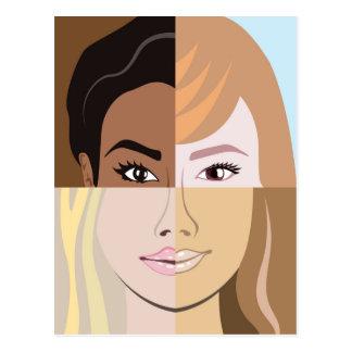 Racial race vector Diversity Postcard