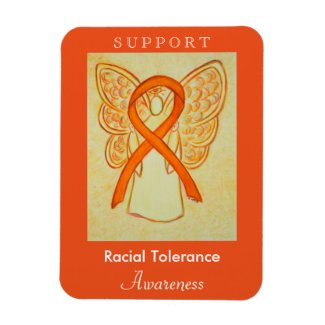 Racial Tolerance Awareness Ribbon Angel Magnets