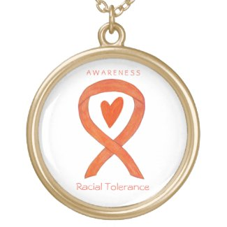Racial Tolerance Awareness Ribbon Jewelry Necklace