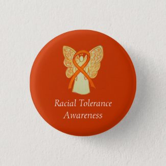Racial Tolerance Orange Awareness Angel Ribbon Pin