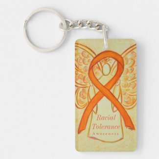 Racial Tolerance Orange Awareness Ribbon Keychain