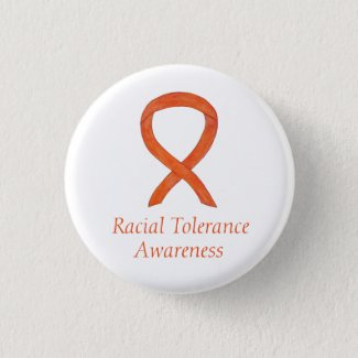 Racial Tolerance Orange Awareness Ribbon Pin