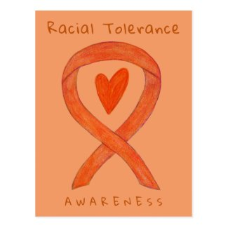 Racial Tolerance Orange Awareness Ribbon Postcards