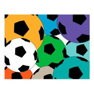 racimo de balones de fútbol tarjeta postal