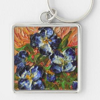 Racimo de flor azul llavero cuadrado plateado