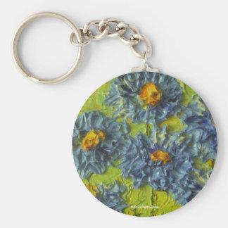 Racimo de flor azul llavero redondo tipo pin