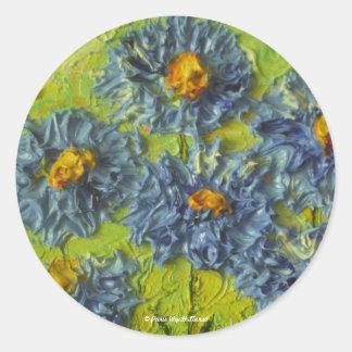 Racimo de flor azul pegatina redonda