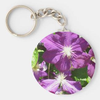 Racimo de flor púrpura llavero redondo tipo pin