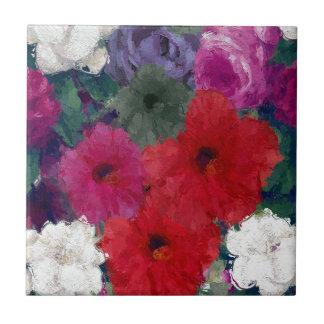 Racimo de flores abstractas azulejo cuadrado pequeño