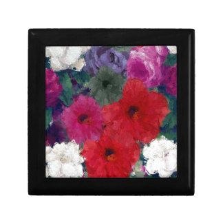 Racimo de flores abstractas joyero cuadrado pequeño