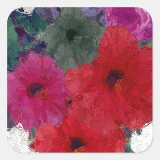 Racimo de flores abstractas pegatina cuadrada