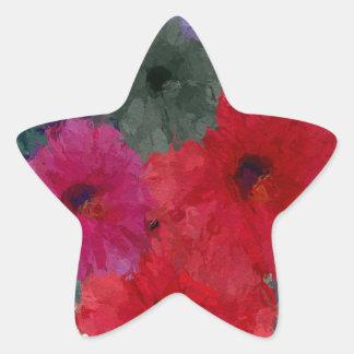 Racimo de flores abstractas pegatina en forma de estrella