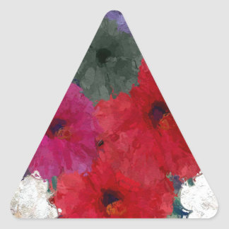Racimo de flores abstractas pegatina triangular