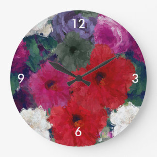 Racimo de flores abstractas reloj redondo grande